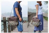 Unisex crazy horse leather with canvas shoulder bag man bag Messenger bag briefcase business casual laptop