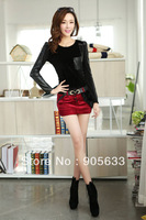Free shipping 2013 winter new Korean Women Slim gold velvet mesh PU leather and velvet long-sleeved shirt bottoming