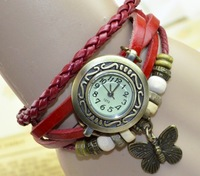 Wholesale Korea design fashion lady bracelet watch with butterfly accessory red color free shipping