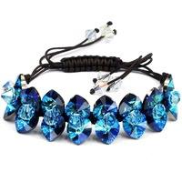 high grade brand hand made rope chain blue heart of ocean SWA ELEMENTS austrian crystal charm bracelet women beads bracelet
