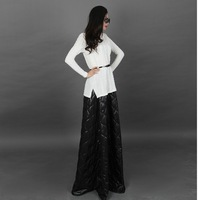 New arrival Womens Fashion stretch cotton Patchwork chiffon Black long sleeve floor-length Party Long Dress Plus Size maxi dress