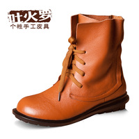 First layer of cowhide flat boots personality genuine leather low-heeled boots casual boots with a single martin boots