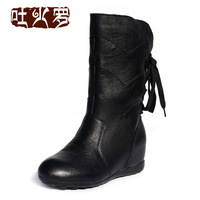 First layer of cowhide boots all-match back strap decoration brief sleeve women in boots