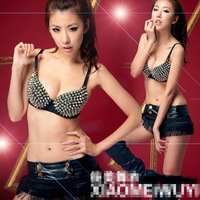 8971 Rock  rivet bra underwear of sequins Sir Nightclub steel ds stage clothing free shipping