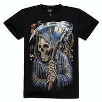 JSD023 2014 spring summer new world cup clothing fashion 3d digital Sickle Skull printed tee tops t-shirt for man plus size