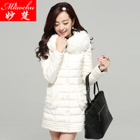 Winter outerwear medium-long female wadded jacket fashion fur collar thickening cotton-padded jacket cotton-padded jacket plus