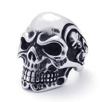 Fashion Super Large Punk Casting Stainless Steel Skull Men's Rings,Biker RingsFree Shipping