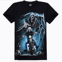 JSD009 2014 spring summer new world cup clothing fashion Motorcycle skulls 3d digital printed tee tops t-shirt for men plus size