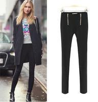 Leggings Women  New 2013 Fashion Casual Women Pants Double zipper decoration all-match Slim long trousers pencil Harem pants