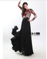 Free Shipping 2013 Fashion Vintage Slim Floor Length Full Dress Plus Size chiffon patchwork Long Sleeve Dress S/M/L/XL/XXL