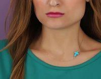 Fashion Jewerly Gift Gold Boho Chain Sideways Turquoise Cross Pendant Necklace