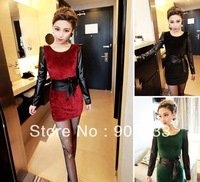 New 2014 new autumn and winter Women fight skin was thin sleeve velvet dress Slim bottoming step skirt woman sent wide girdle