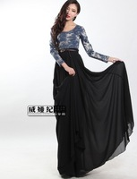 2013 spring autumn high quality women's black full dress elegant patchwork long dresses plus size casual long sleeve dress