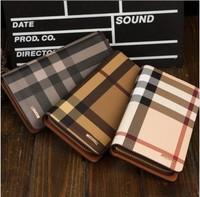 3 Color High quality mens long design plaid  women Lovers zipper fashion bolsas wallet carteiras feminina free shipping