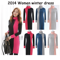 Hot Sell New 2014 Casual Long Sleeve Women Winter Dress