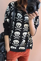 2013 Free Shipping New Winter Korean Style of The Skull Loose Long Sleeve Pullover Casual  Retro Sweater Woman