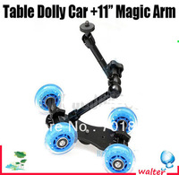"New Mini Desktop Camera Rail Car Table Dolly Car +11""Inch Articulating Magic Arm For 5D2 60D 7D 550D"
