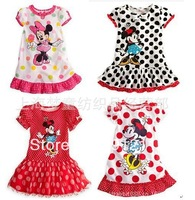 2013 Girls summer Clothing Set Minnie Dress Set Kids Children's Fashion 4 colors Casual Cute Cartoon dress 5pcs/lot