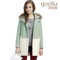 Goelia 2013 cotton-padded winter woolen outerwear color block decoration slim fur collar overcoat female 13ce6e99a