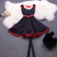 Elegant 2013 gentlewomen polka dot vest one-piece dress fashion apparel