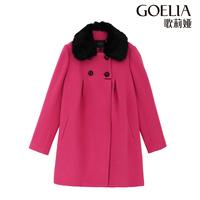 Goelia 2013 fur collar long design egg shaped woolen outerwear 13nj6e140