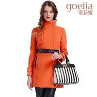 Goelia 2013 stand collar wool coat medium-long women's outerwear with belt 13ce6e65a