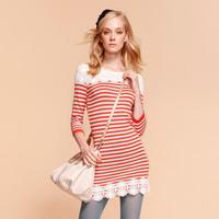 Goelia 2013 female lace patchwork stripe three quarter sleeve sweater dress long slim fashion design 31j5i010