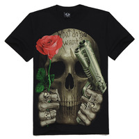 JSD010 2014 spring summer new world cup clothing fashion 3d skull rose and gun digital print tee tops t-shirt men plus size