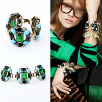 Min.order is $15) 2014 Fashion luxury artificial gem flower bangles for women,Vintage bracelets and bangles,Costume jewelry H055
