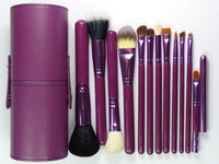 whole sell price New Purple Professional Makeup Brush Set 12 pcs Kit w/ Leather Cup Holder Case kit