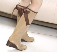 Export Japanese, Cute Back Bow Three Colors Wedges Women Rainboots