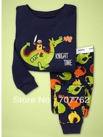 Dinosaur, Baby/Children 100% Cotton Knit Rib long sleeve T shirt + pant pajamas/sleepwear/clothing 6sets/lot ( 6 sizes)