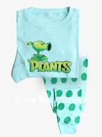 Plants, Baby/Children 100% Cotton Knit Rib long sleeve T shirt + pant pajamas/sleepwear/clothing 6sets/lot ( 6 sizes)