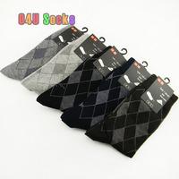 2014 Hot sale Business Black Socks Men Elite Long Socks Cotton 100 Dropshipping 5pair/lot Free Shipping 46