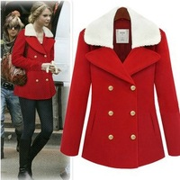 2013 Christmas Red Double Breasted Fur collar Woolen Coat Warmth Overcoat Wholesale! Drop Shipping Support!