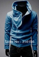 497 2013 Fashion New Autumn classic high-quality British style oblique zipper hooded sweater coat sweater jacket Freeshipping