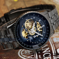 Samurai Cool Black Metal Steel Bangle Skeleton Fashion Men Mechanical Watch Military watches