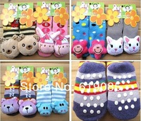 Wholesale - 12pairs/lot Free shipping super thick lovely cotton cartoon animal baby socks warm bed socks random ship