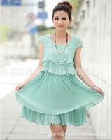 4 colors 2014 women fashion chiffon pleated dress with ruffles ladies faux double tulle/puff/flare dress boat neck sleeveless