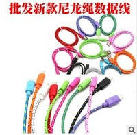 500pc New Colorful USB Cable For iphone 5 5S Fabric braided Nylon usb sync&charging cable for iphone5