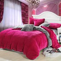 Bedding thickening thermal FL velvet duvet cover solid color coral fleece bedding set piece