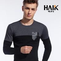 FREE SHIPPING 2013haik fashion long-sleeve T-shirt permanent press pocket round neck T-shirt