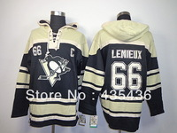 Free Shipping Pittsburgh Penguins #66 Mario Lemieux old time Double stiched Hoody hockey Jersey Throwback Hooded Sweatshirt  Top