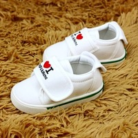 Hot selling I love mom and dad, single baby white canvas shoes toddler children's shoes