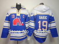 Free Shipping Quebec Nordiques 19 Joe Sakic old time Double stiched Hoody hockey Jersey Throwback Hooded Sweatshirt  Top Quality