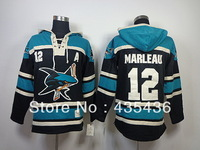 Free Shipping San Jose Sharks #12 Patrick Marleau old time Double stiched Hoody hockey Jersey Throwback Hooded Sweatshirt  M-2XL