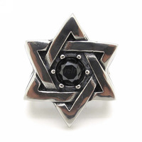 Men's Jewish Stars Zircon Ring 316L Stainless Steel Hexagram Rings Solomon's Seal Biker Men's Fashion Jewelry
