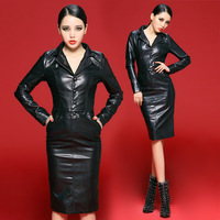 Bossy lady2013 fashion suit collar slim medium-long one-piece dress leather skirt