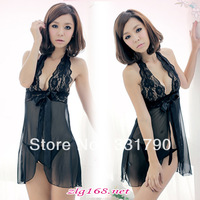 Free Shipping  002635 Sexy Black Women's Wedding Lace Negligee Wholesale