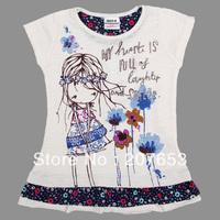 NEW Free shipping 5pcs/lot  children clothes girls short sleeve  t-shirt  girls cartoon t-shirt girls lovely tops/ tees